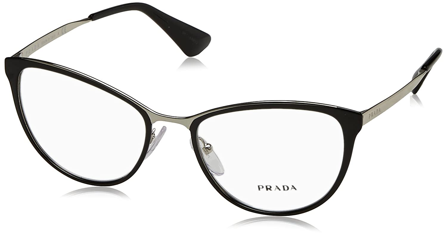 d79e16bef5b7 Amazon.com  Prada CINEMA PR55TV Eyeglass Frames 1AB1O1-52 - Black Silver  PR55TV-1AB1O1-52  Clothing