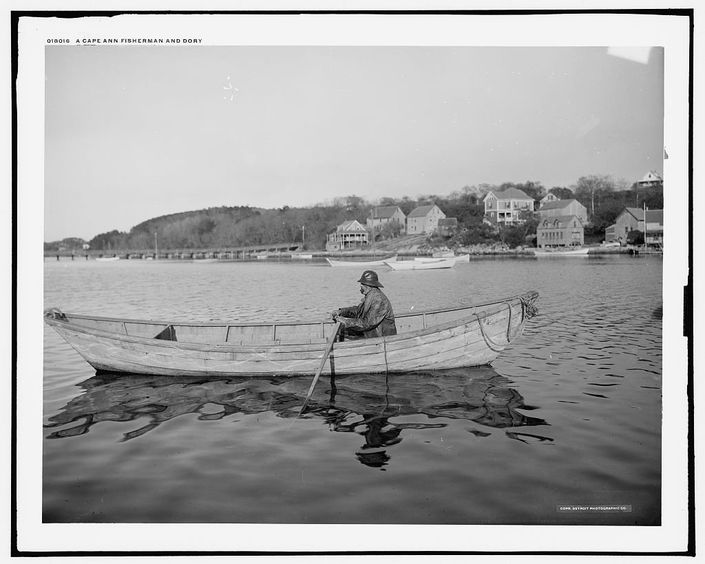 Vintography 40 x 30 Ready to Hang Canvas Wrap A Cape Ann Fisherman and Dory 1905 Detriot Publishing 55a