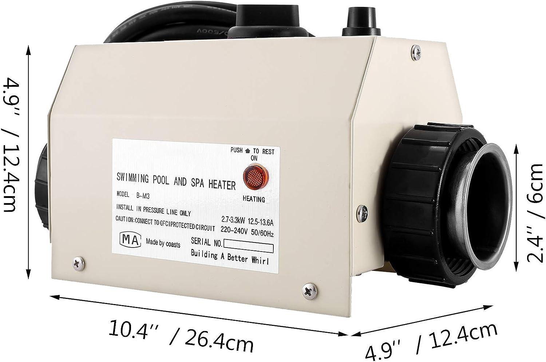 de Acero Inoxidable VEVOR Termostato de Calefacci/ón SPA 220-240 V 50-60 Hz Calentador de Agua Piscina 264 x 124 x 124 mm Calentador de Agua SPA 3 kW Termostato de Piscina con Interfaz de 50 mm
