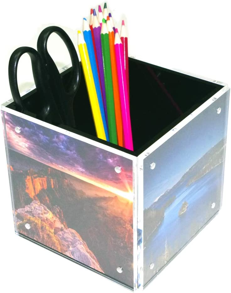 """HESIN 4-side Acrylic Photo Block Cube Desktop Storage Organizer, suit 5"""" x5"""" photo size for Home or Office Decoration"""