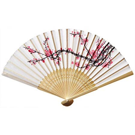 801e41d59 DAYNECETY 1Pcs Handheld Bamboo Silk Folding Hand Fans Cherry Blossom Flower  Bamboo Wooden Carved Handheld Folding