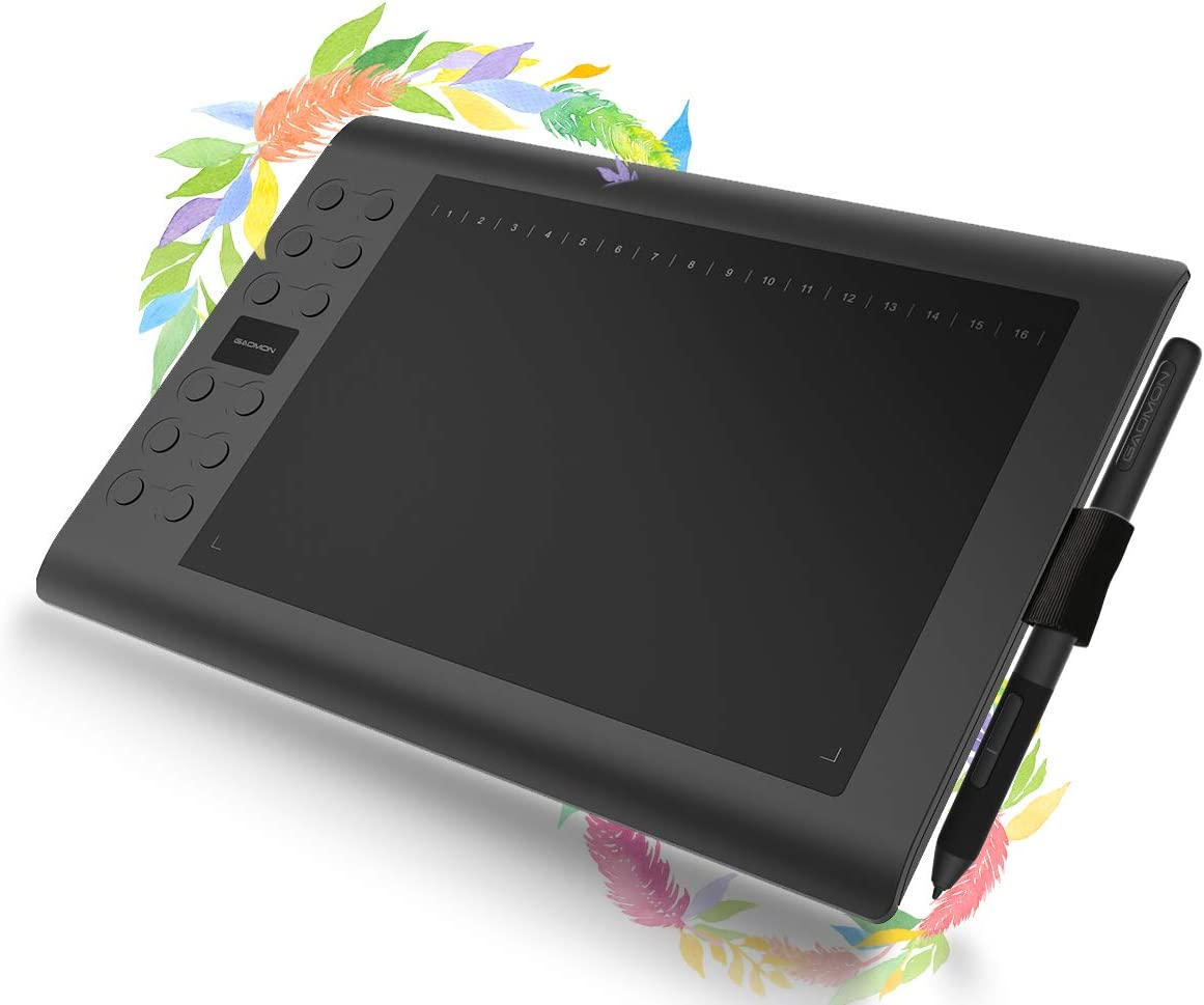 GAOMON M106K 10 x 6 Inches Painting Digital Graphics Pen Tablet with 12 Express Keys 1 Finger Golve and 10 Nibs Included