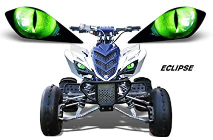 AMR Racing ATV Headlight Eye Graphic Decal Cover for Yamaha Raptor 700/250/350 - Eclipse (Green)