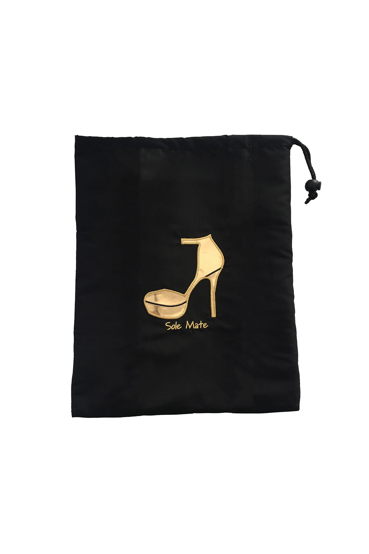 New Style Miamica Embroidered ''Sole Mate'' Travel Gold Heel and Black Shoe Bag Storage Accessories Organizer