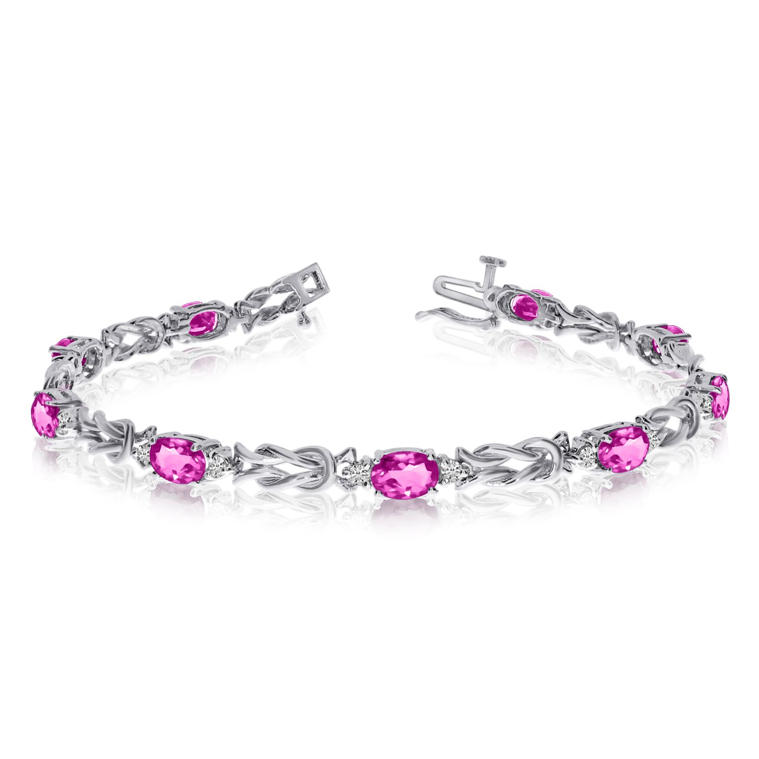14k White Gold Natural Mystic-Topaz And Diamond Tennis Bracelet (9 Inch Length) by Direct-Jewelry