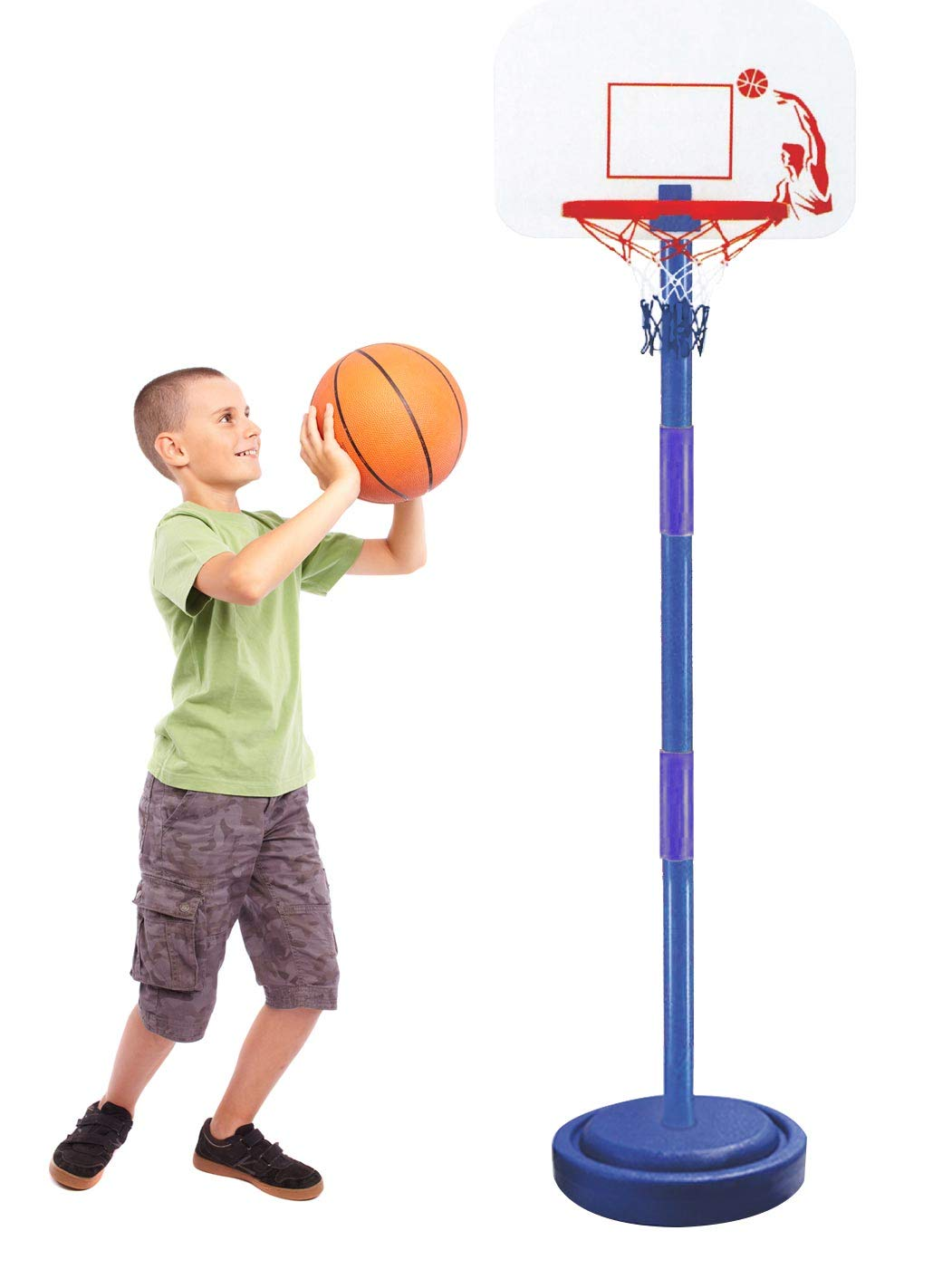 Ages 3-7 Basketball Hoop Adjustable Portable Childs Throwing Tossing Garden Fun Game Free Standing Set for Kids Indoor Outdoor