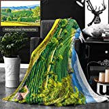 Ralahome Unique Custom Double Sides Print Flannel Blankets Landscape View Of Tea Farm In Thai Thailand Super Soft Blanketry for Bed Couch, Throw Blanket 60 x 40 Inches