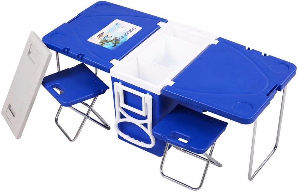 Nevera multifunción de Smartlife con ruedas, mesa y 2 sillas para ...