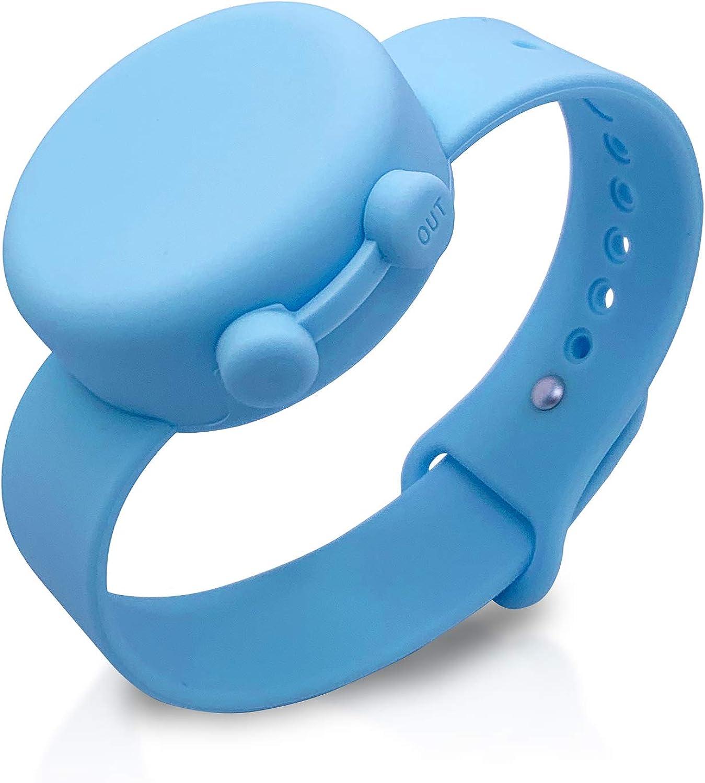 hand sanitizer keychain in dusty blue