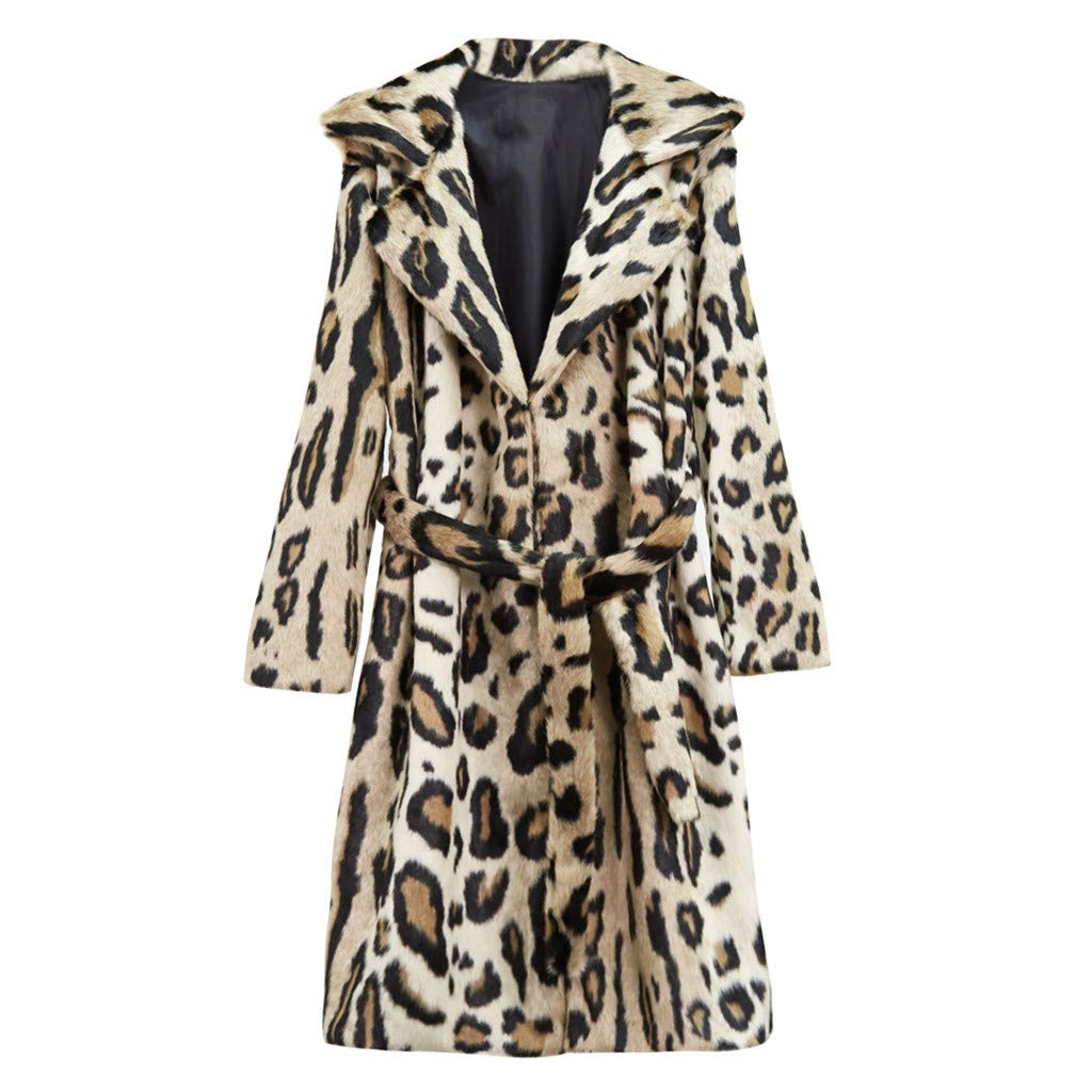 Lefthigh Women Fashion Leopard Print Overcoat Long Sleeve with Belt Long Wool Pellet Coat Luxury Party Generous Jacket by Lefthigh