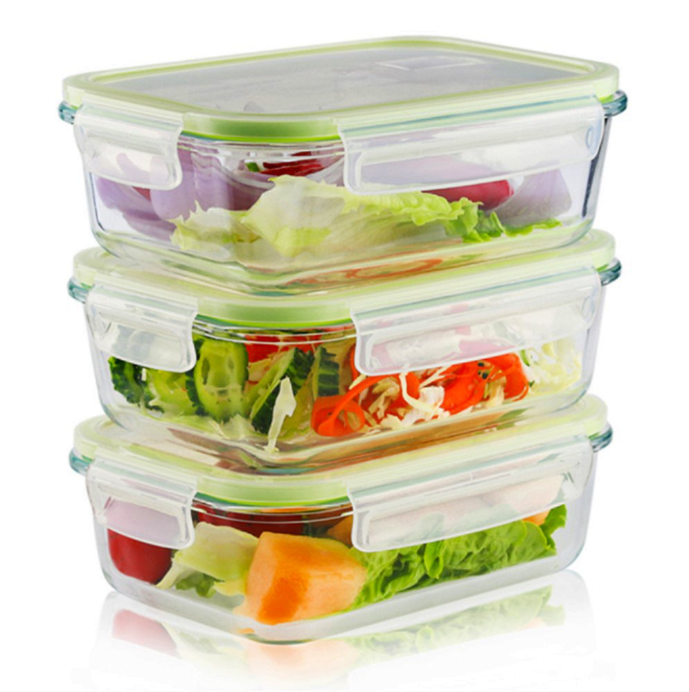 Glass Food Storage Containers with Locking Lids-Glass Freezer Containers,35OZ-Storage Container Glass-Glass Meal Prep Container,3 pcs(Large Square)