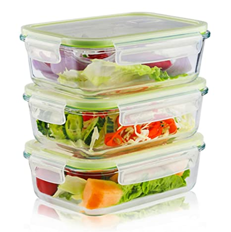 8ed1349be441 LIVING EXPRESS 3 Pieces Glass Food Storage Container Set with Snap Locking  Lid,Airtight,Microwave,Oven,Freezer,Dishwasher Safe,BPA-Free (Large Square)