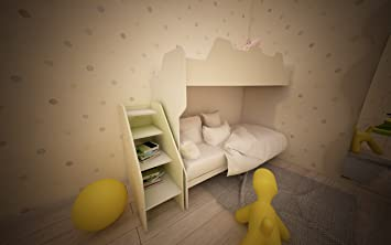 Kinderzimmer komplett Hochbett mit Gradinata und Netze ECRU E ...