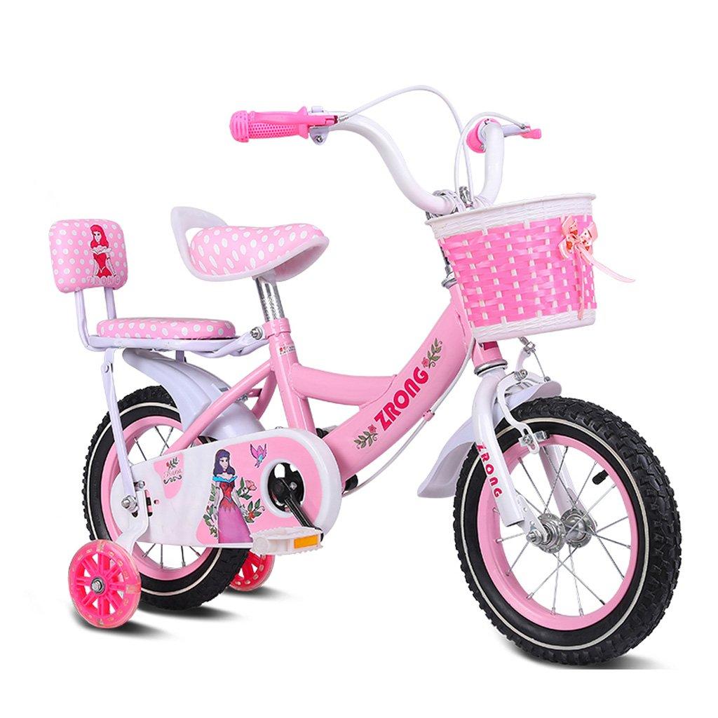 子供用自転車14インチガールズバイク3-5歳の子供用ガールカーハイカーボンスチール自転車、ピンク/パープル/ブルー (Color : Pink) B07CYMK5QF
