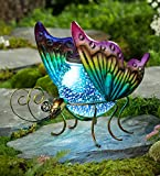 Plow & Hearth Solar Powered Glass Globe Animal - Decorative Garden Accent Decor - LED Light with 3D Stargazing Effect - Painted Metal Frame- 11.5 L x 6.25 W x 8.75 H - Butterfly