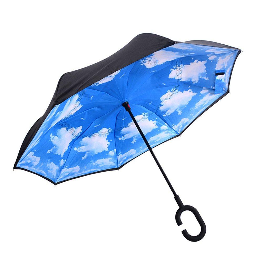 AUTOPkio Manos en forma de C invertida FreeHandle Paraguas, doble capa invertida Permanente interior hacia fuera del paraguas protector contra la lluvia AUTOPKIO-059