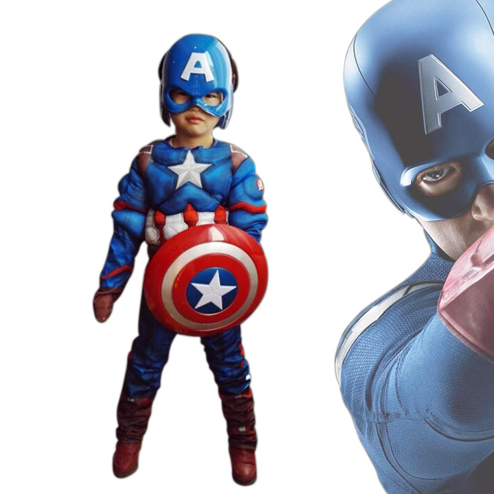 MEET Captain America Classic Muscle Costume (Small) Blue