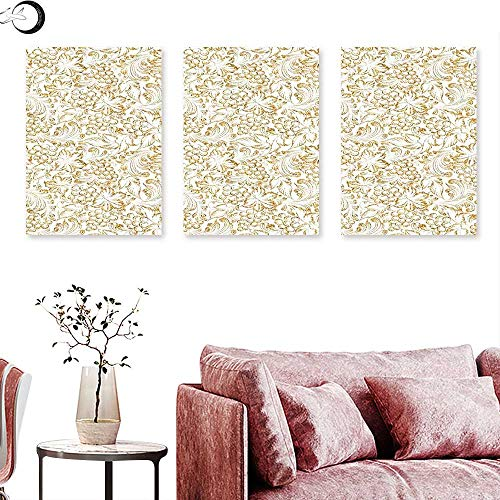 J Chief Sky Kitchen Decor Wall hangings Golden Grape Vine Classic Victorian Pattern Invitation Background Wine Dine Illustration Wall Panel Art Gold White Triptych Art Canvas W 20