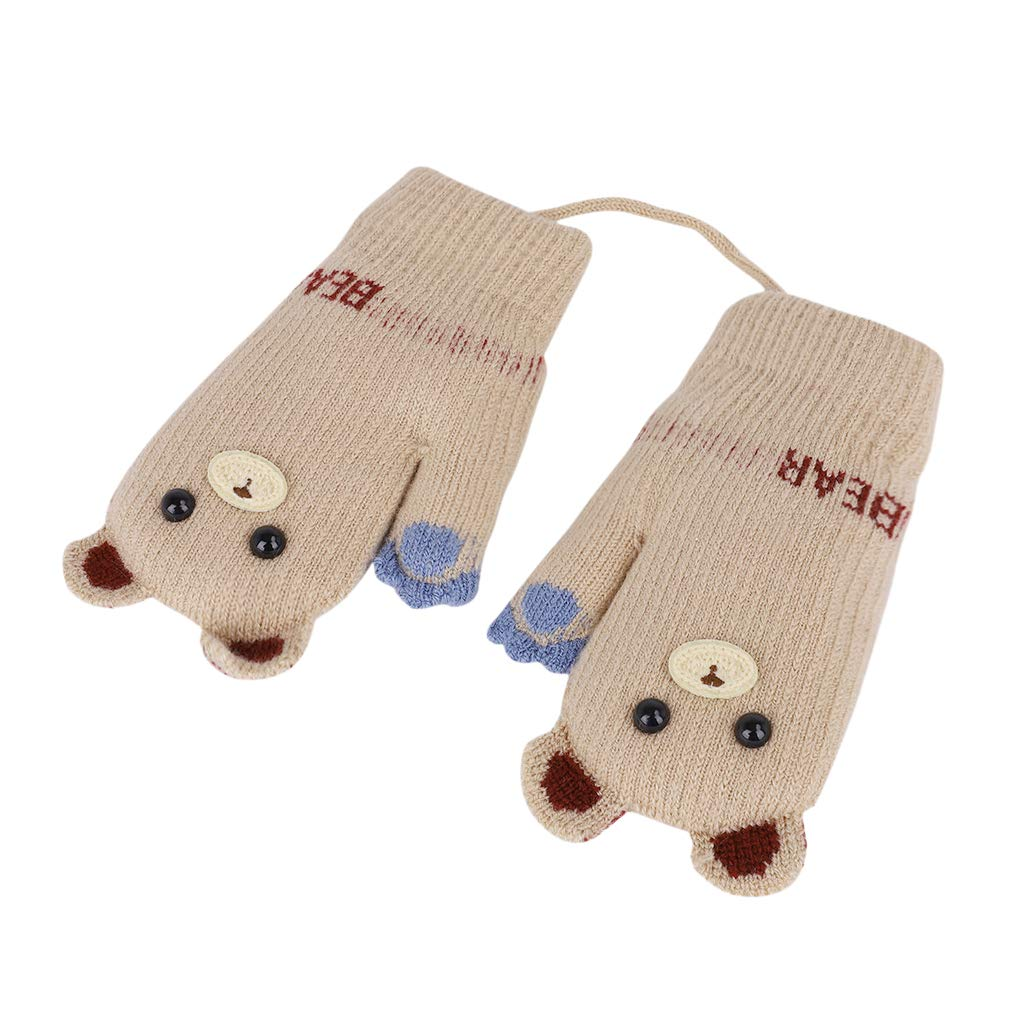Kids Cartoon knitted Gloves Cute Bear Hang Neck MittensThicken Winter Warm Gloves with Anti-lost String Full Fingers Baby Boy Girl Mitten Thermal Plush Outdoor Hand Warmer Aged 1-4 Years Xmas Gift