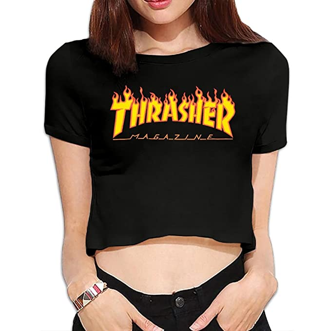 79a91d273b548f ASKKEEEN Thrasher Flame Logo Women s Loose T Shirt Short Sleeve Graphic  Crop Top Tees  Amazon.ca  Clothing   Accessories
