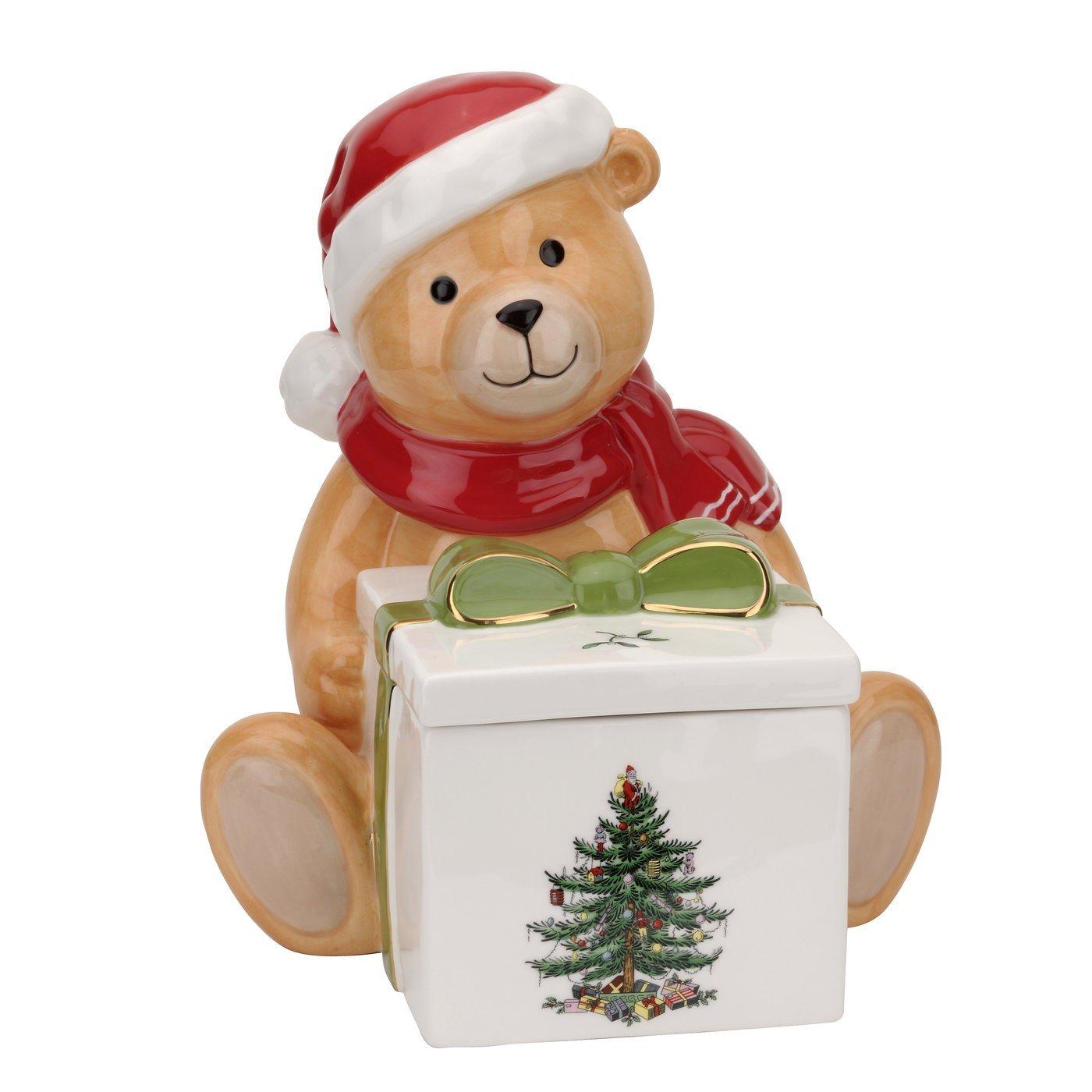 Spode Christmas Tree Teddy Bear Candy Box