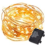100 LED Glimmer Strings 32 FT Copper Wire String Light for Christmas Outdoor Holiday Dorm Yard Party Decorative,Waterproof Battery Operated