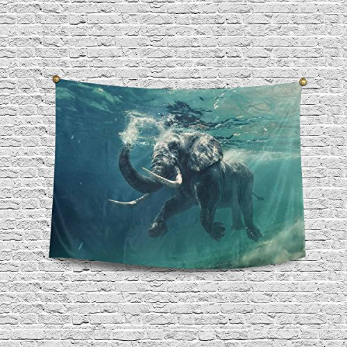 INTERESTPRINT Swimming African Elephant Underwater Tapestry Wall Hanging Cotton Linen Tapestries Art for Bedroom Dorm Home Decor, 60 W X 40 L Inches ()