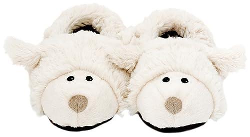 Slippies Ovejas Heads, (M - 36-40) - 100% zapatillas, zapatillas de calor para microondas
