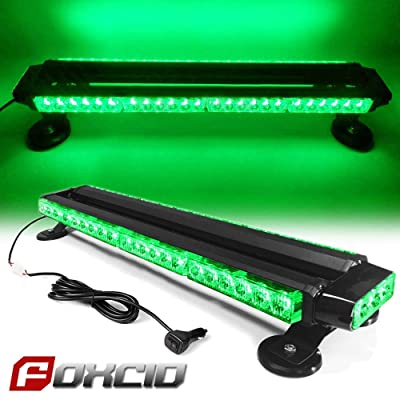 "FOXCID Green 26"" 54 LED Emergency Warning Security Roof Top Flash Strobe Light Bar with Magnetic Base, for Plow or Tow Truck Construction Vehicle: Automotive"