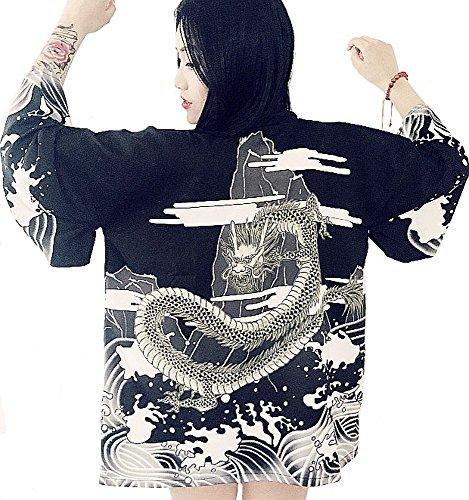 (더-라이크) G-like 레이디스 맨즈 마리 옷감 멋지다 하라쥬쿠풍 용 프린트 쇼트 옷 코트 드래곤 프리 사이즈