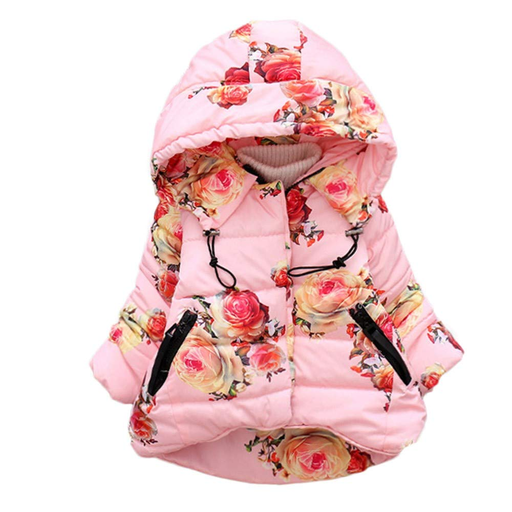 Dacawin Clearance Baby Girl Winter Warm Floral Print Long Sleeve Windproof Hooded Coat for Boy