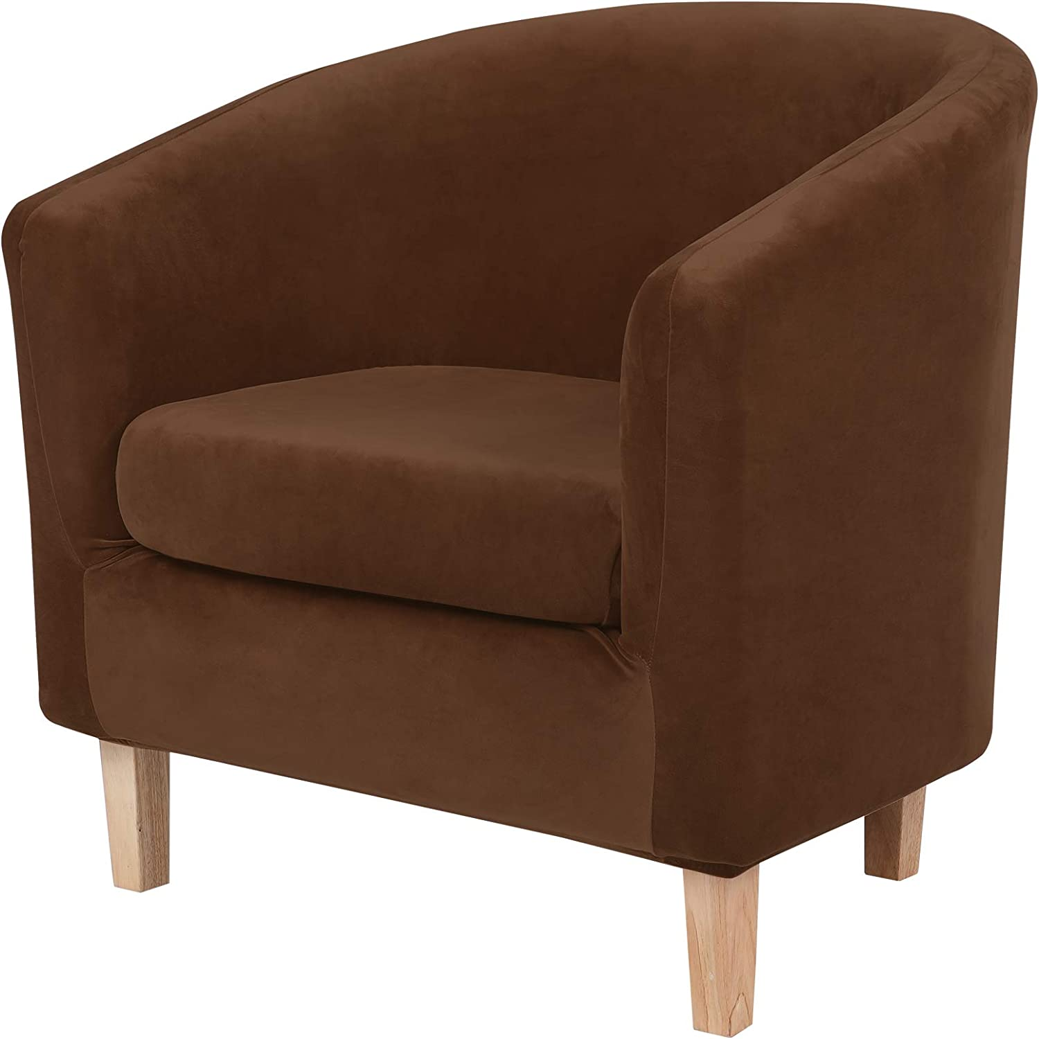 hyha 2 Pieces Velvet Tub Chair Covers with Cushion Cover, Removable Stretch Club Chair Slipcover for IKEA Tullsta, Armchair Furniture Protector for Living Room, Brown