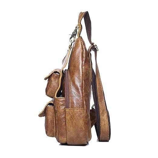 45889031cfc Asdflina De múltiples Fines Bolso de Hombro de Cuero Vintage Messenger Pack  Cross Body Paquete de Bolso de Satchel para Hombres y Mujeres Adecuado para  Uso ...