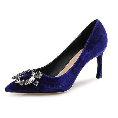 mogeek Damen Pumps High Heels mit Stilettoabsatz Spitze Party Schuhe Abendschuhe Hochzeit Hochzeitsschuhe