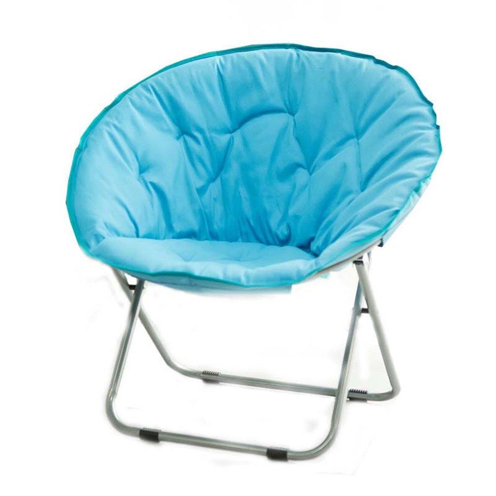 Folding chair / Round Leisure Folding Chair / Moon Chair / Home Folding Chair / Recliner /Home lazy sofa /Sun loungers /Balcony lounge chair / ( Color : Blue )