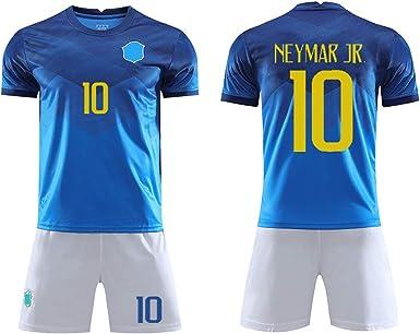 10 Squadre di Calcio Nazionali brasiliane Home Abbigliamento da Calcio Tuta Tifosi assenti Maglia Sportiva T-Shirt QQLONG Abbigliamento Sportivo da Calcio Neymar da Silva Santos J/únior