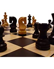 AMBRIZZOLA 40cm Wooden Chess Gift Set with Cavaliere 63mm Ebonized Black and Natural Chess Pieces