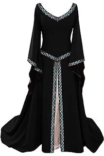 tianxinxishop Disfraz de V Cuello en V Medieval para Mujer Vestido Largo Manga Larga Vintage Rojo