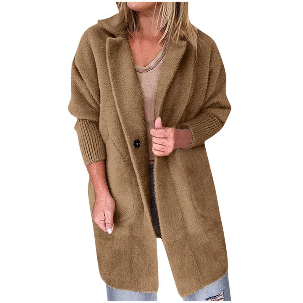 Winter Sale - Women's Coat Faux Fur Warm Jacket Lapel Loose Mid-Long Button Cardigan Outerwear Overcoat with Pockets (Brown, L) by Dacawin-Women Coat