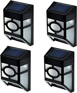 FALOVE 2-LED 4 Pack Solar Wall Light , Waterproof Solar Wall Lamps Outdoor Wireless Solar Powered Motion Sensor Light ,for Garden Yard Driveway Porch Gazebo Pathway Hallway LightingWhite Light