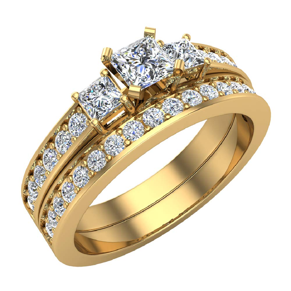 Past Present Future Princess Cut Diamonds 3 stone Accent Round Diamonds Wedding Ring Set 1.06 carat total weight 14K Yellow Gold (Ring Size 8)