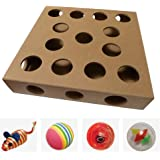 Unique Design - Interactive Indoor Cat Toy Puzzle Box – As Seen on Channel 5's The Secret Life of Kittens - Four Cat Toys Included, 3 Balls and a Mouse – Best Gift for any Cat, Kitten or Their Owner!