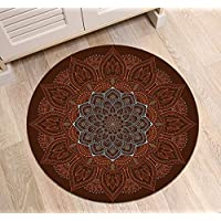 LB Round Area Rug Indian Oriental Mandala Flower Pattern, Traditional Hippie Meditation House Decor for Living Room Door Entryway Hearth Floor, 2 foot