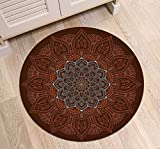 LB Round Area Rug Indian Oriental Mandala Flower Pattern, Traditional Hippie Meditation House Decor for Living Room Door Entryway Hearth Floor, 4'