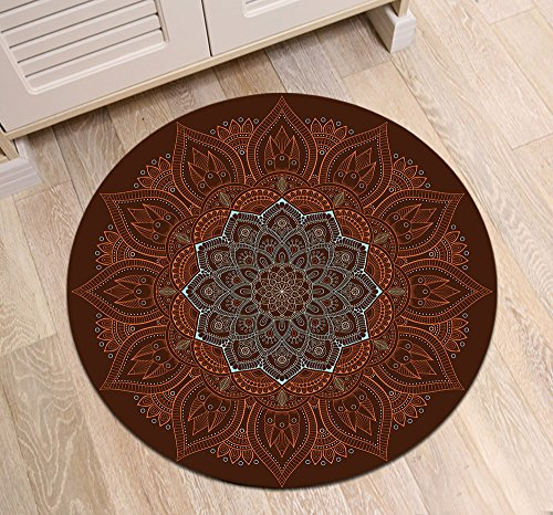 LB Round Area Rug Indian Oriental Mandala Flower Pattern, Traditional Hippie Meditation House Decor for Living Room Door Entryway Hearth Floor, 4' by LB