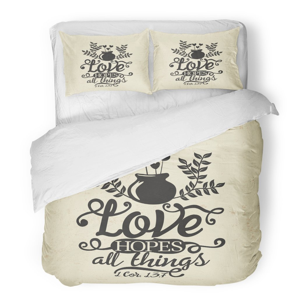 SanChic Duvet Cover Set Faith Biblical Christian Typographic Love Hopes All Things Corinthians 13 7 Jesus Decorative Bedding Set with 2 Pillow Shams Full/Queen Size by SanChic