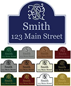 """Mystic Sloth Custom Aluminum Wall Mounted Address Sign 11.5"""" x 15.25"""" with Rounded Top"""