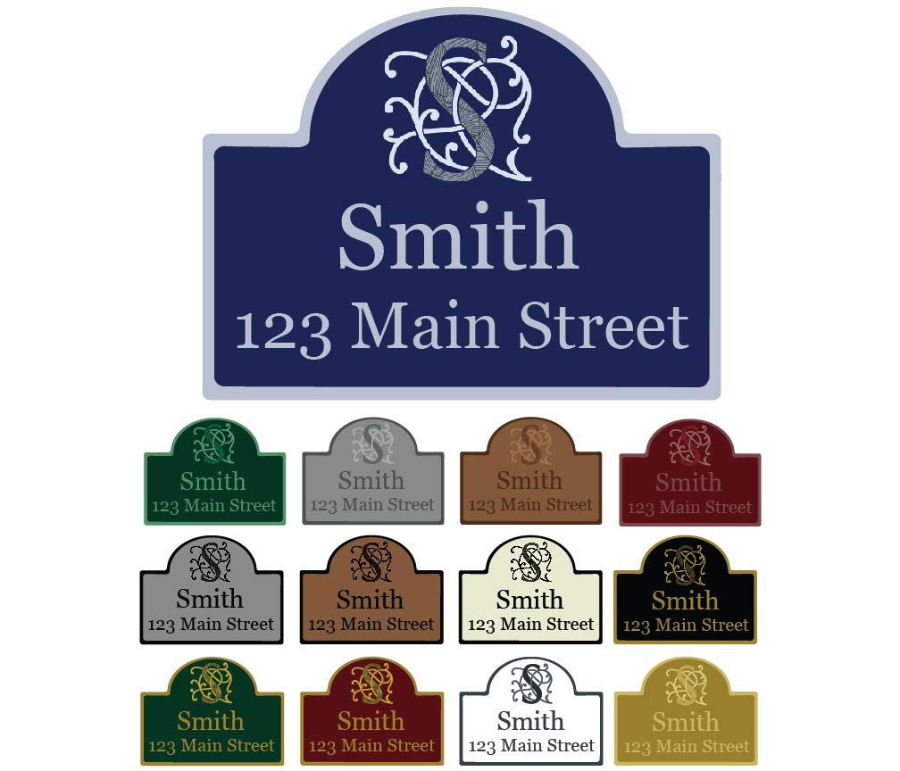 Mystic Sloth Custom Aluminum Wall Mounted Address Sign 11.5'' x 15.25'' with Rounded Top
