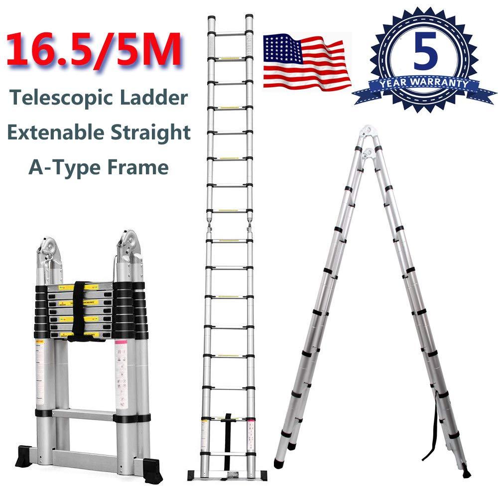 Yiya Aluminum Telescopic Extension Ladder 16.5FT/5M, A-Type Frame Telescoping Ladder or Non-Slip Straight Ladder 330LBS Capacity 16 Steps