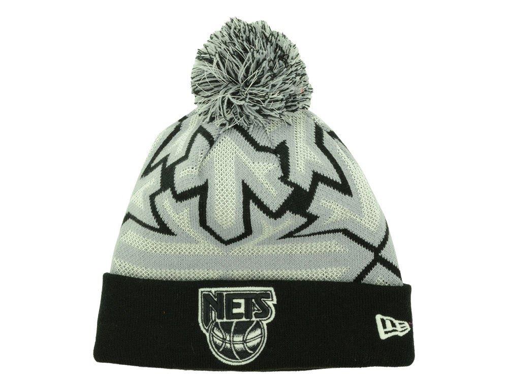 Brooklyn Nets Black ''Glowflake'' Beanie Hat with Pom - NBA Glow in Dark Cuffed Winter Knit Toque Cap